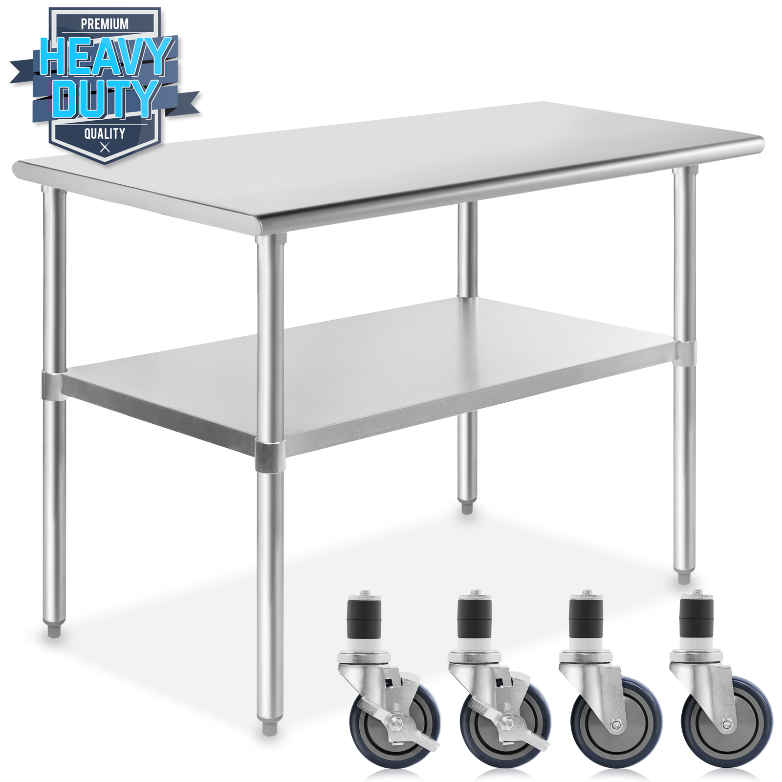 Wheels x 24 in. - 30 in GRIDMANN NSF Stainless Steel Commercial Kitchen Prep /& Work Table w// 4 Casters